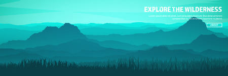 Illustration for Mountains and forest header. Wild nature landscape. Travel and adventure.Panorama. Into the woods. Horizon line.Trees,fogfog. - Royalty Free Image