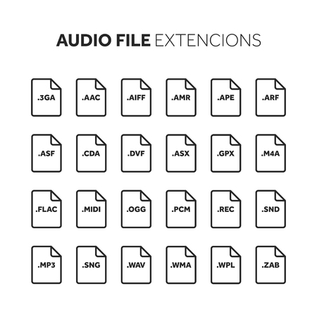 Music and multimedia file extension icon set : Royalty-free