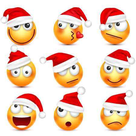 Illustration pour Smiley emoticon set. Yellow face with emotions and Christmas hat. New Year, Santa.Winter emoji. Sad,happy,angry faces.Funny cartoon character. - image libre de droit