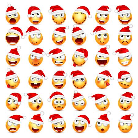 Ilustración de Smiley,emoticon set. Yellow face with emotions and Christmas hat. New Year, Santa.Winter emoji. Sad,happy,angry faces.Funny cartoon character.Mood. Vector. - Imagen libre de derechos