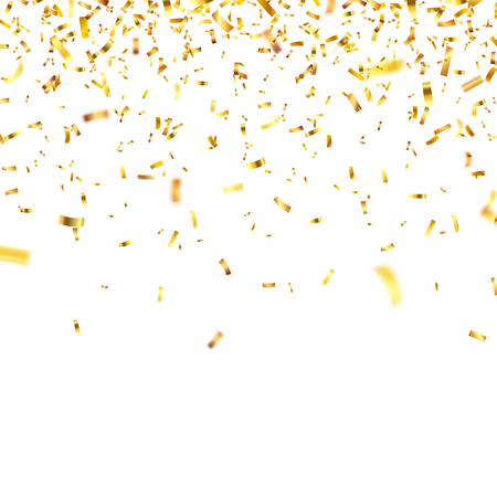 Ilustración de Christmas golden confetti. Falling shiny confetti glitters in gold color. New year, birthday, valentines day design element. Holiday background. - Imagen libre de derechos