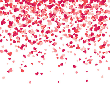 Illustration pour Heart confetti. Valentines, Womens, Mothers day background with falling red and pink paper hearts, petals. Greeting wedding card. February 14, love.White background. - image libre de droit