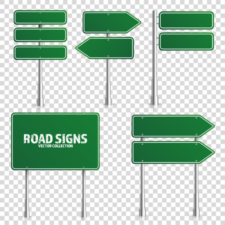 Illustration pour Road green traffic sign. Blank board with place for text.Mockup. Isolated on white information sign. Direction. Vector illustration. - image libre de droit