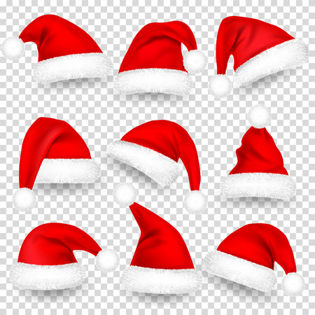 Illustration pour Christmas Santa Hats With Fur and Shadow Set. New Year Red Hat Isolated on Transparent Background. Winter Cap. Vector illustration. - image libre de droit