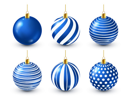 Illustration pour Christmas Tree Shiny Blue Balls Set. New Year Decoration. Winter Season. December Holidays. Greeting Gift Card Or Banner Element - image libre de droit