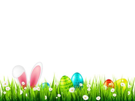 Ilustración de Easter eggs on grass with bunny rabbit ears set. Spring holidays in April. Sunday seasonal celebration with egg hunt - Imagen libre de derechos