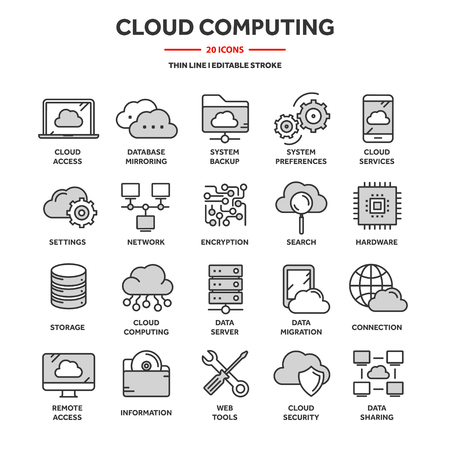 Ilustración de Cloud computing. Internet technology. Online services. Data, information security. Connection. Thin line blue web icon set. Outline icons collection.Vector illustration - Imagen libre de derechos
