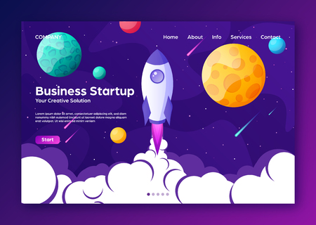 Illustration for Website landing home page with rocket. Business project startup and development modern flat background. Mobile web design template. Space travel on a rocketship. Vector illustration. - Royalty Free Image