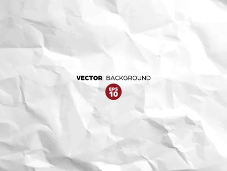 Illustration pour Crumpled white paper texture pattern. Rough grunge old blank. Vector abstract background. - image libre de droit