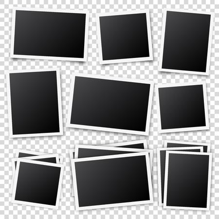 Ilustración de Photo card frame,film set. Retro vintage photograph with shadow. Digital snapshot image. Photography art. Template or mockup for design. Vector illustration - Imagen libre de derechos