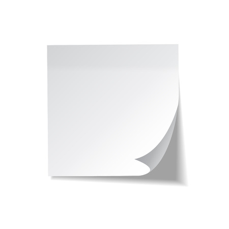 Illustration for Realistic sticky note. White paper. Message on notepaper. Reminder. Eps10 vector - Royalty Free Image