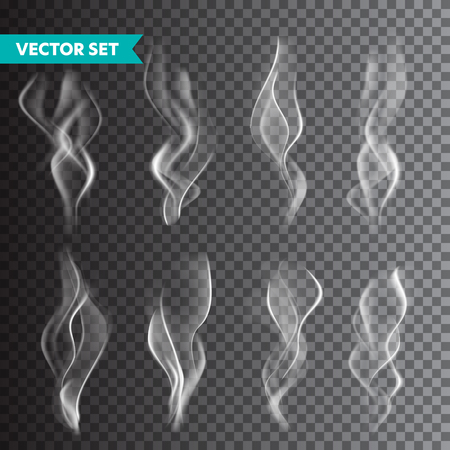 Illustration pour Realistic cigarette smoke set isolated on transparent background. Vector vapor in air, steam flow. Fog, mist effect - image libre de droit