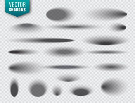 Ilustración de Vector shadows set on transparent background. Realistic isolated shadow. Vector illustration - Imagen libre de derechos