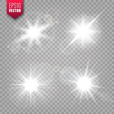 Ilustración de Glowing lights set on transparent background. Lens flare effect. Bright sparkling flash, sunlight. Vector illustration. - Imagen libre de derechos