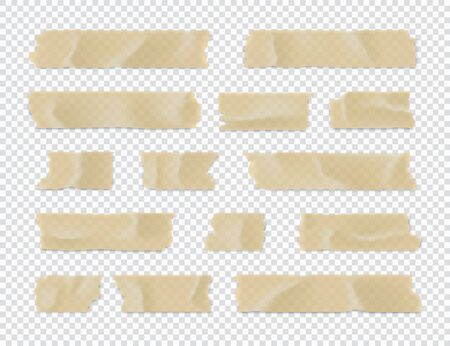 Illustration for Adhesive tape set. Sticky paper strip isolated on transparent background. Vector illustration. - Royalty Free Image
