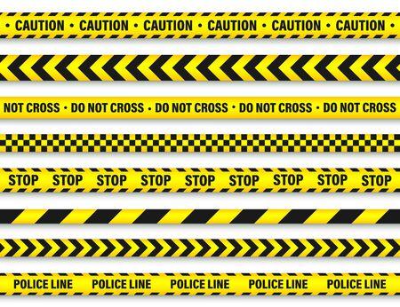 Illustration pour Yellow And Black Barricade Construction Tape. - image libre de droit