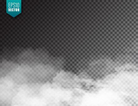 Illustration pour  Realistic fog, mist effect. Smoke isolated on transparent background. Vector vapor in air, steam flow. Clouds - image libre de droit