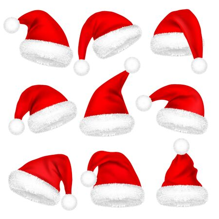 Illustration pour Christmas Santa Claus Hats With Fur Set. New Year Red Hat Isolated on White Background. Winter Cap. Vector illustration - image libre de droit