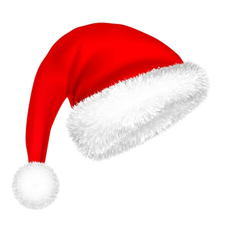 Illustration for Christmas Santa Claus Hat With Fur. - Royalty Free Image