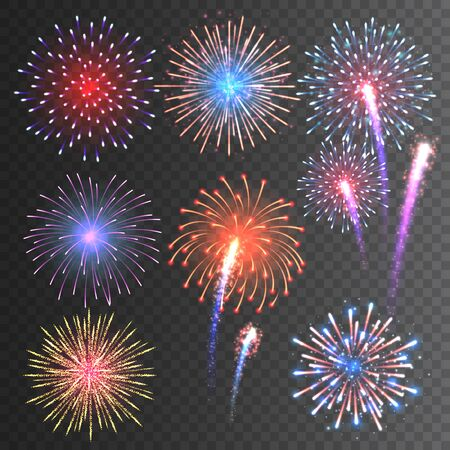 Illustration for Festive fireworks collection. Realistic colorful firework on transparent background. Multicolored explosion. Christmas or New Year greeting card element. Vector illustration - Royalty Free Image