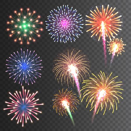 Illustration for Festive fireworks collection. - Royalty Free Image