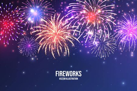 Illustration pour Festive fireworks. Realistic colorful firework on blue abstract background. Multicolored explosion. Christmas or New Year greeting card. Diwali festival of lights. Vector illustration - image libre de droit