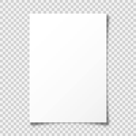 Illustration pour Realistic blank paper sheet with shadow in A4 format on transparent background. Notebook or book page with curled corner. Vector illustration. - image libre de droit