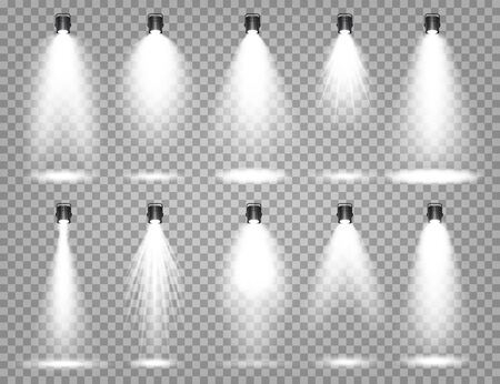Vector spotlight set. Bright light beam. Transparent realistic effect. Stage lighting. Illuminated studio spotlights
