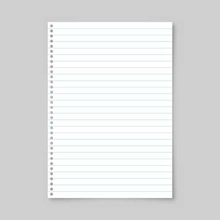 Illustration for Realistic blank lined paper sheet with shadow in A4 format isolated on gray background. Notebook or book page. Design template or mockup. Vector illustration. - Royalty Free Image