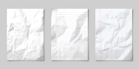 Illustration pour Realistic blank lined crumpled paper sheet with shadow in A4 format isolated on gray background. Notebook or book page. Design template or mockup. Vector illustration. - image libre de droit