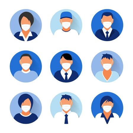 Illustration pour Flat modern minimal avatar icons with medical mask. Business concept, global communication. Web site user profile. Social media, network elements - image libre de droit
