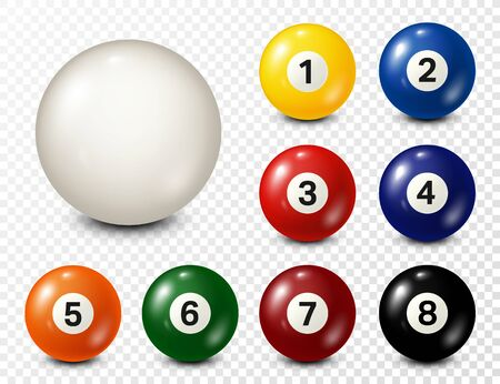 Illustration pour Billiard, pool balls with numbers collection. Realistic glossy snooker ball. White background. Vector illustration. - image libre de droit