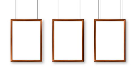 Illustration pour Realistic hanging on a wall blank wooden picture frame. Modern poster mockup. Empty photo frame with texture of wood. Vector illustration - image libre de droit