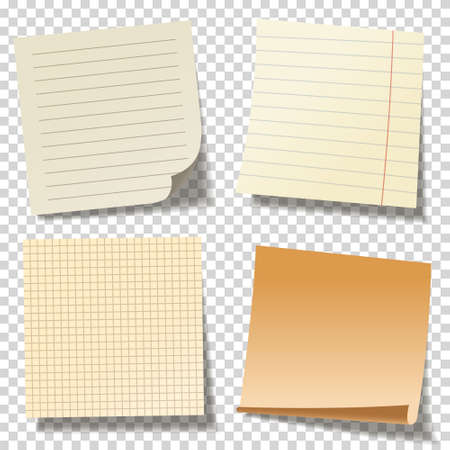 Illustration pour Realistic blank sticky notes. Colored sheets of note papers. Paper reminder. Vector illustration. - image libre de droit