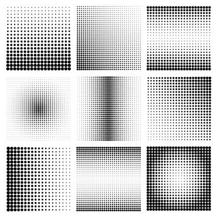 Illustration pour Halftone design elements with black dots isolated on white background. Comic dotted pattern.Vector illustration. - image libre de droit