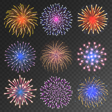Illustration for Festive fireworks collection. Realistic colorful firework on transparent background. Christmas or New Year greeting card element. Vector illustration. - Royalty Free Image