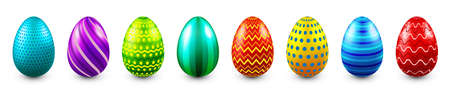 Illustration pour Colorful Easter eggs isolated on white background. Seasonal spring decoration element. Egg hunt game. Vector illustration. - image libre de droit