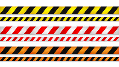 Illustration for Realistic retractable caution belt. Crowd control strap barrier. Queue lines. Restriction border and danger tape. - Royalty Free Image
