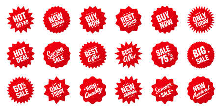 Illustration pour Realistic red tilted price tags collection. Special offer or shopping discount label. Retail paper sticker. Promotional sale badge. Vector illustration. - image libre de droit