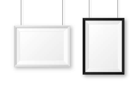 Illustration pour Realistic black and white picture frames with shadow. Hanging on a wall blank poster mockup. Empty photo frame. Vector illustration. - image libre de droit