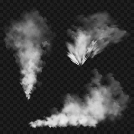 Illustration pour Realistic smoke clouds. Stream of smoke from burning objects. Transparent fog effect. White steam, mist. Vector design element. - image libre de droit