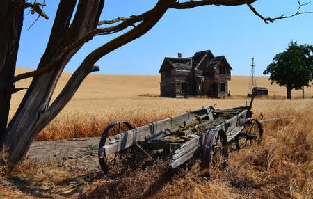 Historic ranch house and wagon