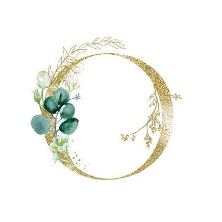 Foto de Gold Floral Alphabet - letter O with botanic branch bouquet composition. - Imagen libre de derechos