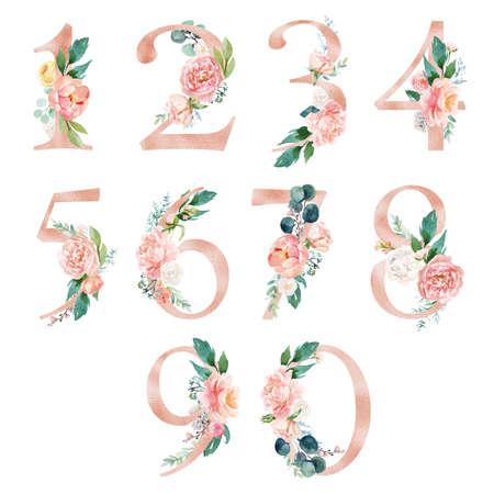 Photo pour Peach cream / Blush Floral Number Set - digits 1, 2, 3, 4, 5, 6, 7, 8, 9, 0 with flowers bouquet composition. Unique collection for wedding invites decoration & other concept ideas. - image libre de droit