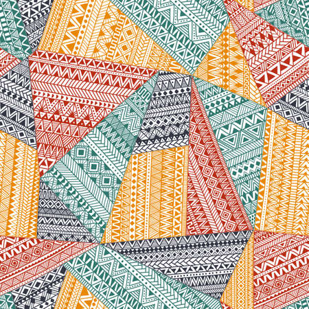 Illustration for Seamless pattern in patchwork style. Ethnic and tribal motifs. A complex ornament drawn by hand. Doodle pattern from colorful triangles. - Royalty Free Image