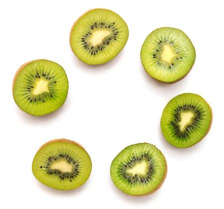 Foto de Kiwi fruit isolated on white background. Kiwi collection. Top view, flat - Imagen libre de derechos
