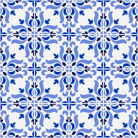 Illustration pour tile pattern, colorful decorative floral seamless background, beautiful ceramic wallpaper decor vector illustration - image libre de droit