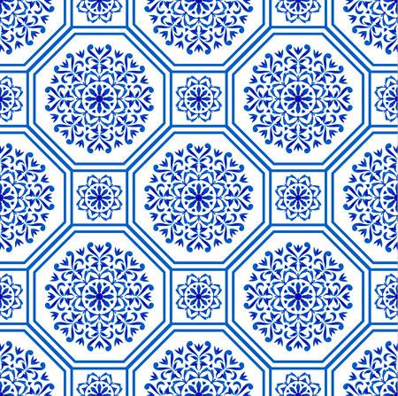 Illustration pour decorative Hexagon tile design patchwork portuguese moroccan and motif style, luxury oriental blue and white seamless modern pattern, ceramic background, geometric floral wallpaper vector illustration - image libre de droit