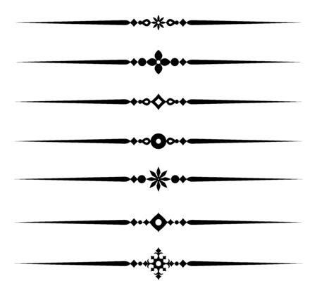 Illustration pour Collection of decorative line elements, beautiful different ornamental rules for elegant design border and page, vector illustration - image libre de droit
