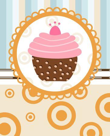 cupcake on retro background